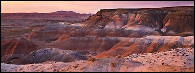 Painted Desert badlands at sunset. Petrified Forest National Park (Panoramic color)