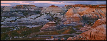 Badland scenery at dusk, Blue Mesa. Petrified Forest National Park (Panoramic color)