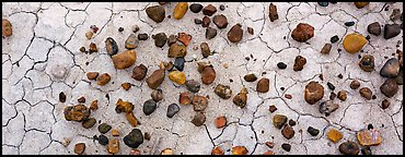Dried mud cracks and multi-colored stones. Petrified Forest National Park (Panoramic color)