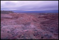 Painted desert seen from Tiponi Point, dawn. Petrified Forest National Park, Arizona, USA.
