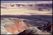 Painted desert seen from Chinde Point, morning. Petrified Forest National Park, Arizona, USA. (color)