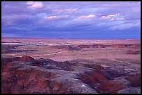 Painted desert seen from Chinde Point, dusk. Petrified Forest National Park, Arizona, USA.