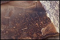 Petroglyphs on Newspaper Rock. Petrified Forest National Park, Arizona, USA. (color)