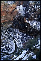 Virgin river and Canyon walls from the summit of Angel's landing in winter. Zion National Park, Utah, USA.
