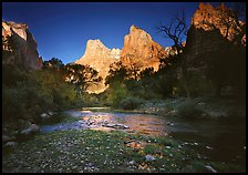 Virgin River and Court of the Patriarchs at sunrise. Zion National Park ( color)