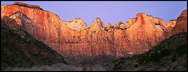 Towers of the Virgin cliffs at dawn. Zion National Park (Panoramic color)
