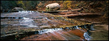 Red travertine terraces with cascades. Zion National Park (Panoramic color)