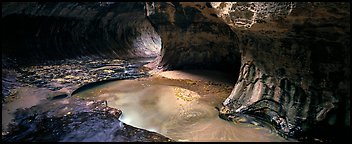 North Creek flowing in the Subway in the fall. Zion National Park (Panoramic color)