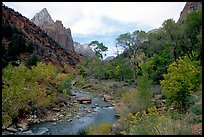 Zion Canyon and Virgin River in the fall. Zion National Park, Utah, USA. (color)