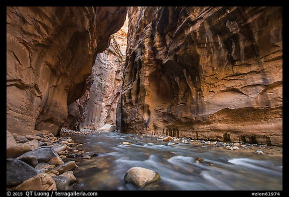 Virgin River flowing beneath tall walls, the Narrows. Zion National Park (color)
