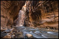 Virgin River flowing beneath tall walls, the Narrows. Zion National Park ( color)
