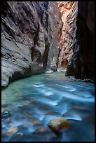 River flows beneath soaring sandstone walls, the Narrows. Zion National Park ( color)