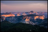 Forested plateaus and canyons at sunset from Lava Point. Zion National Park ( color)