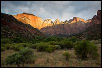 Towers of the Virgin, stormy sunrise. Zion National Park ( color)
