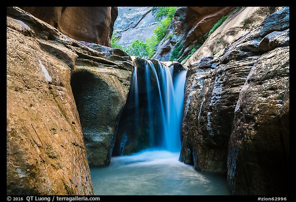 Waterfall, Orderville Canyon. Zion National Park (color)