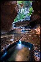 Water cascading over pools, the Subway. Zion National Park ( color)