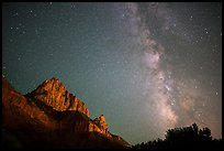 Milky Way and Watchman. Zion National Park ( color)