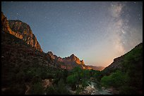Virgin River, Watchman, and Milky Way. Zion National Park ( color)