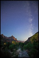 Virgin River, Watchman, and Milky Way at dawn. Zion National Park ( color)