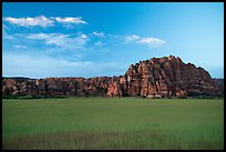 Pinnacles rising above plateau with high grasses, Kolob Terraces. Zion National Park ( color)