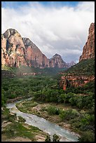 Virgin River and Zion Canyon. Zion National Park ( color)