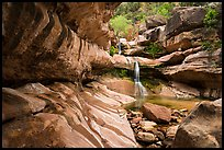 Pine Creek Canyon with waterfall. Zion National Park ( color)