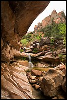 Striated alcove, waterfall, and rock towers, Pine Creek Canyon. Zion National Park ( color)