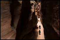 Canyonneers walk in Pine Creek Canyon narrows. Zion National Park, Utah ( color)