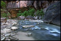 Alcove and Virgin River in the Narrows. Zion National Park, Utah, USA. (color)