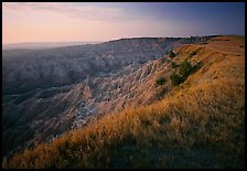 Prairie grasses and erosion canyon at sunrise, Stronghold Unit. Badlands National Park, South Dakota, USA.