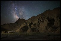 Starry sky and Milky Way above buttes. Badlands National Park ( color)