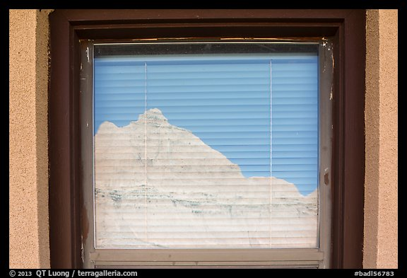 Butte, Window reflexion, Badlands National Park Headquarters. Badlands National Park (color)