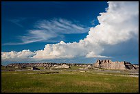 Afternoon clouds above buttes and prairie, South Unit. Badlands National Park ( color)