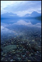 Peebles in lake McDonald and mountains. Glacier National Park, Montana, USA. (color)