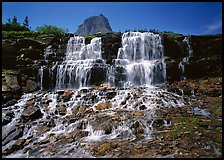 Waterfall at hanging gardens, with top of Mountain. Glacier National Park ( color)