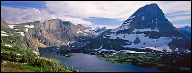 Alpine lake and triangular peak. Glacier National Park (Panoramic color)