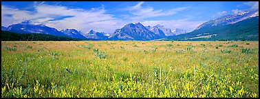 Prairie and mountains. Glacier National Park (Panoramic color)