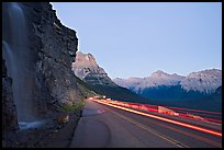 Roadside waterfall and light trail, Going-to-the-Sun road. Glacier National Park, Montana, USA. (color)