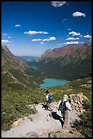 Switchback on trail, with Grinnel Lake and Josephine Lake in the background. Glacier National Park, Montana, USA.