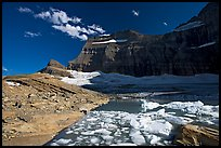 Upper Grinnell Lake with icebergs, late afternoon. Glacier National Park, Montana, USA. (color)