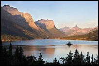 St Mary Lake, Wild Goose Island, sunrise. Glacier National Park, Montana, USA. (color)