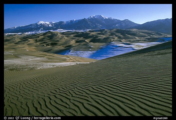 Dune field and Sangre de Christo mountains in winter. Great Sand Dunes National Park, Colorado, USA.