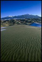 Sand ripples and Sangre de Christo mountains in winter. Great Sand Dunes National Park, Colorado, USA. (color)