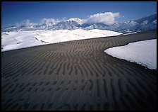 Ripples in partly snow-covered sand dunes. Great Sand Dunes National Park, Colorado, USA. (color)
