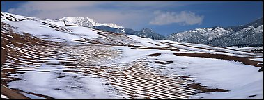Melting snow on sand dunes. Great Sand Dunes National Park (Panoramic color)