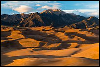 Last light tover dune field and Mount Herard. Great Sand Dunes National Park and Preserve ( color)