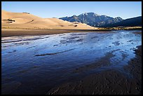 Medano Creek, dunefield, and mountains in autumn. Great Sand Dunes National Park and Preserve ( color)
