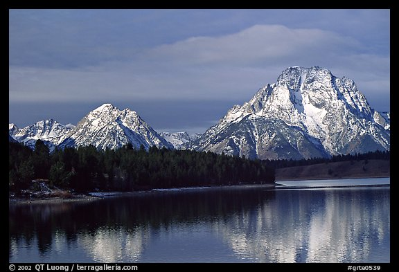 Mt Moran in early winter, reflected in Oxbow bend. Grand Teton National Park (color)