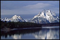 Mt Moran in early winter, reflected in Oxbow bend. Grand Teton National Park, Wyoming, USA.