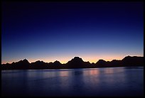 Teton range above Jackson lake, dusk. Grand Teton National Park ( color)